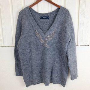 Zara Knit Beaded Neck Sweater